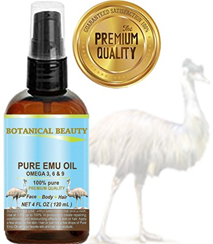 PURE EMU Oil, 100% Pure, 4 oz-120 ml. For Face, Hair, Body and Nails. Great...