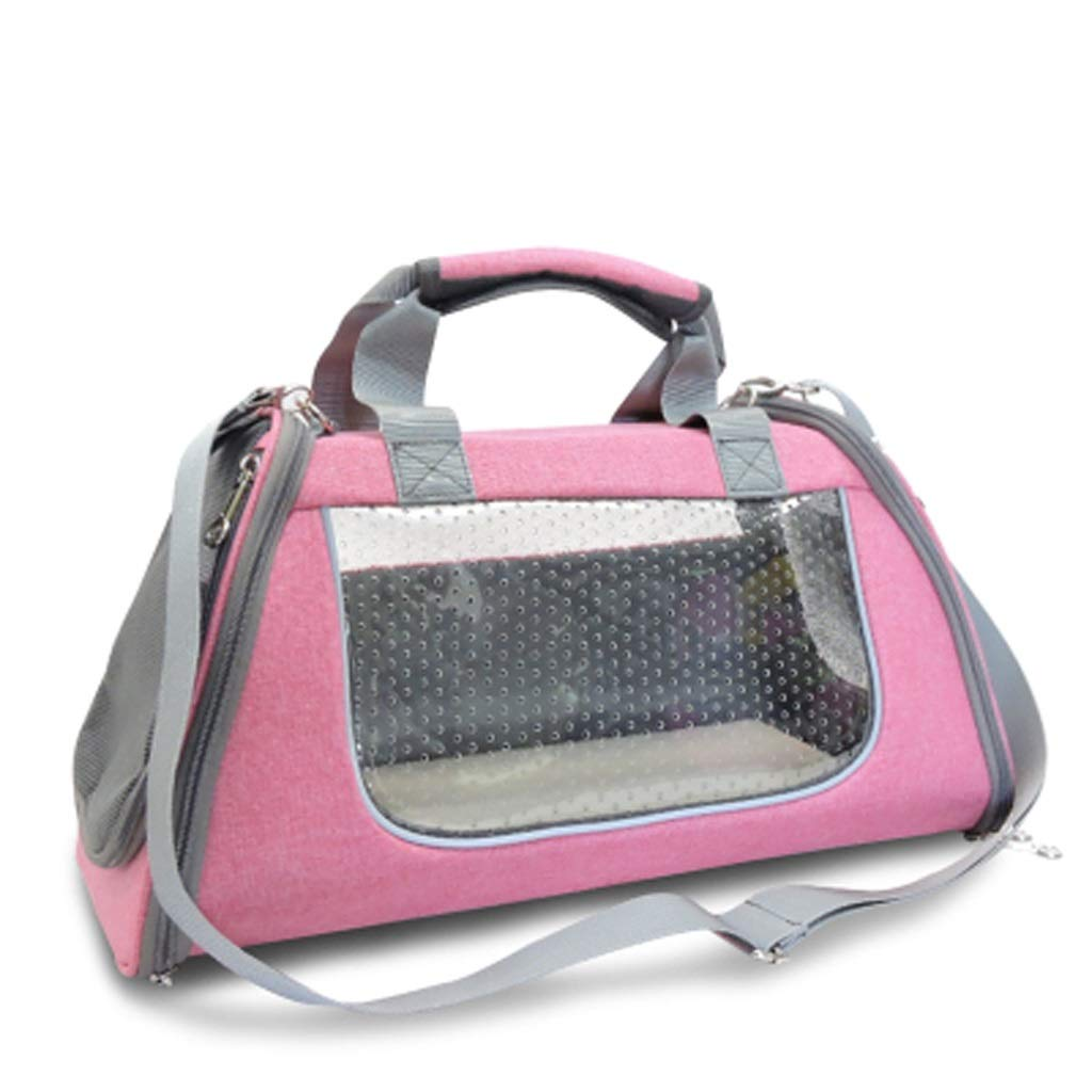 Pink SmallYSNUK Pet backpack Pet Bag ,Shoulder Space Capsule Portable With Cat, Dog Portable Pet Bag Travel Box Large Backpack Outdoor,Travel,Walking,seat carrier (color   Pink, Size   S)