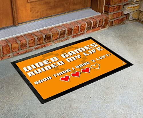 1art1 Gaming, Video Games Ruined My Life, Good Thing I Have 3 Left Door Mat Design Floor Mat 24×16 cm Mouse Pad 9×7 inches Gift Set
