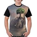 CKS DA WUQ Fantasy Elephant Tree Men's Raglan Short Sleeve Tops T-Shirt Comfort Undershirts Baseball Tees