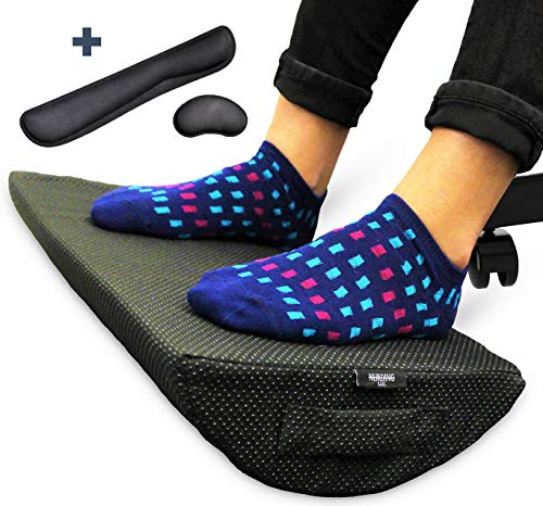 Foot Rest Cushion for Under Desk - Bonus Keyboard and Mouse Cushions - Ergonomic Non-Slip High Density Foam - Durable Footrest for Home and Office Your Feet Will Love (Extra Comfort Footrest)