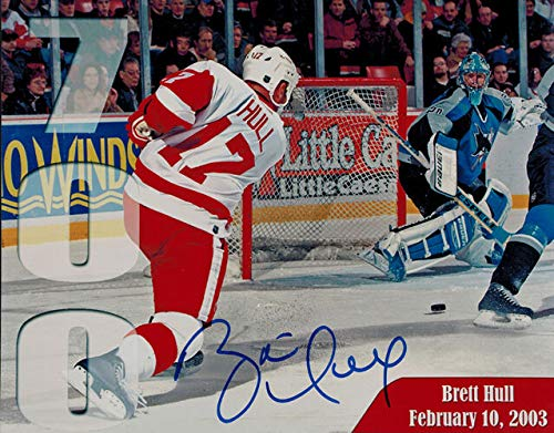 Brett Hull Signed Red Wings - Brett Hull Autographed/Signed Detroit Red Wings 8x10 Photo