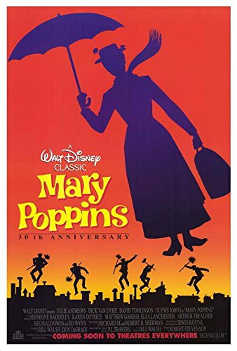 Mary Poppins Movie Poster, Julie Andrews, Dick Van Dyke, B, Made In The U.S.A