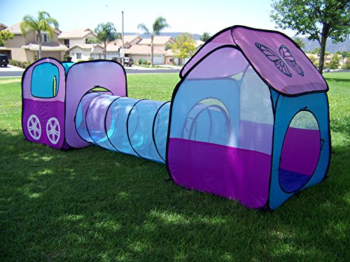 girls pop up play tent set with tunnel play ground room. Black Bedroom Furniture Sets. Home Design Ideas