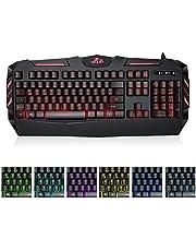 Rii RK900 Gaming Tastatur, 105 Tasten, LED-Hintergrundbeleuchtung 7 Farben Helligkeit- Schwarz - QWERTZ, deutsches Layout (Gaming Tastatur)