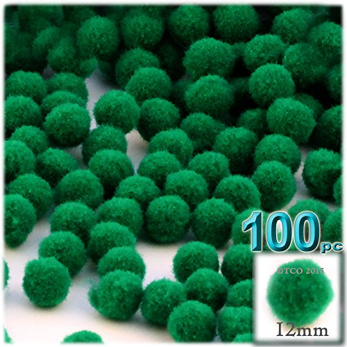 The Crafts Outlet 100-Piece Multi Purpose Pom Poms, Acrylic, 12mm/About 0.5-inch, Round, Emerald Green
