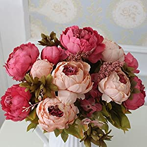 Silk Flower European 1 Bouquet Artificial Flowers Fall Vivid Peony Fake Leaf Wedding Home Party Decoration 100