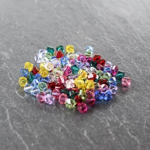 Swarovski Crystal Bicone Bead Mix Rainbow | 6mm | Pack of 100 | Small & Wholesale Packs - Swarovski Genuine Necklace