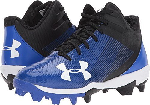 Under Armour Boys' Leadoff Mid Jr. RM Baseball Shoe, Black (041)/Team Royal, 4.5 by Under Armour
