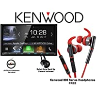 Kenwood DMX7704S 6.95 Digital Media Receiver with a Kenwood 800 Series In Ear Headphones and Back Up Camera with a FREE SOTS Air Freshener