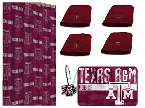 - The Northwest Company NCAA Texas A&M Aggies 18 Piece Bath Ensemble Includes (1) Shower Curtain, (12) Shower Hooks, (4) Bath Towels, and (1) Bath mat
