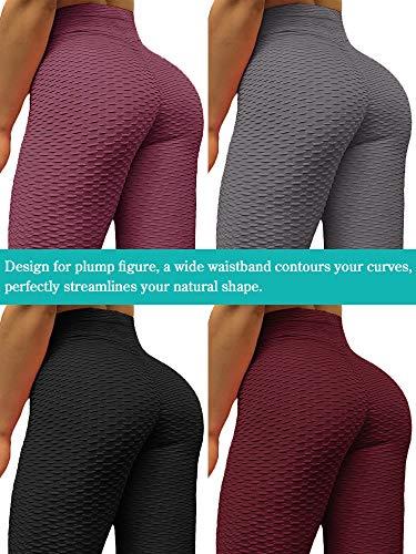 Neleus Women's 3 Pack Tummy Control High Waist Leggings Out Pocket,9036,Black/Grey/Maroon,S,EU M by Neleus (Image #5)
