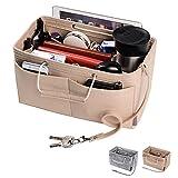 ZTUJO Purse Organizer, Multi-Pocket Felt Handbag Organizer, Purse Insert Organizer with Handles, Medium, Large (Medium, Beige)