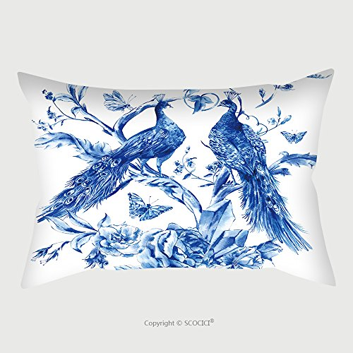 Custom Satin Pillowcase Protector Vintage Blue Pair Of Peacocks With Watercolor Roses, Precious Crystals And Butterflies In Boho Style,Watercolor Natural Greeting Card, Decoration Nature Flower by chaoran