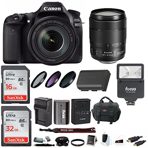 Canon EOS 80D Digital Camera: 24 Megapixel 1080p HD Video DSLR Bundle with 18-135mm USM Lens 48GB Flash Filters Travel Charger and More - Professional Vlogging Sports & Action Cameras -  ACAN80D18135K1