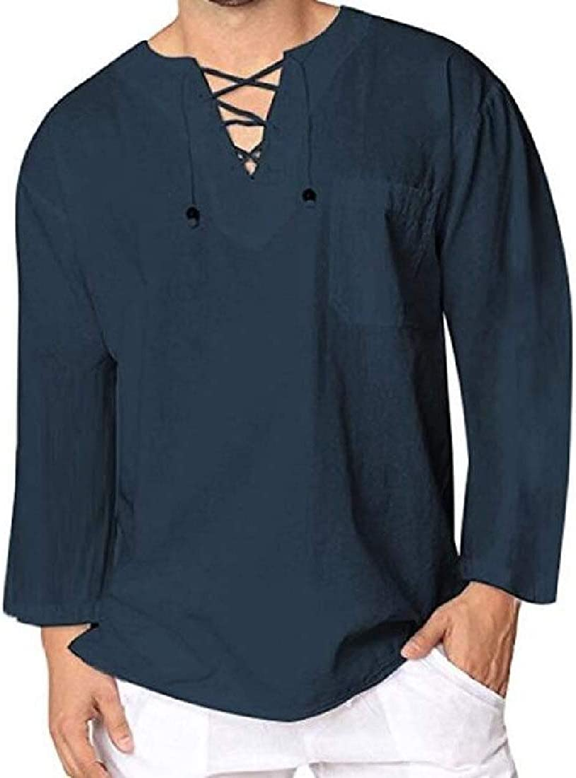 Suncolor8 Mens Plain Long Sleeve Slim Fit Linen Business Button Up Dress Work Shirt