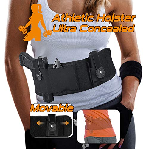 SUFEINI Belly Band Holsters Concealed Carry -【2019 New Upgrade Movable Mag Pouch】 Gun Holster Belt for Women & Man Running Fits for Glock, Sig Sauer, Beretta, S&W M&P, Ruger, Revolver