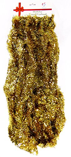25 Ft. Long Seasonal Holiday Tinsel Garland from Love It! Products. Use for Christmas, Thanksgiving, New Years, Birthday and any celebration, party or event. Color: Gold