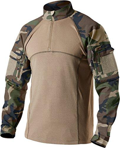 - CQR Men's Combat Shirt Tactical 1/4 Zip Assault Military Top Camo EDC, Combat Shirts(tos201) - Woodland Olive, 2X-Large