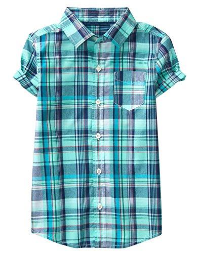 Crazy 8 Boys' Little Short Roll Sleeve Woven Button Down Tee, Teal White/Blue Plaid, M (Woven Sleeve Shirt)