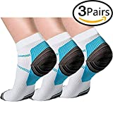 3 Pairs Compression Socks for Women and Men Sport Plantar Fasciitis Arch Support Low Cut Running Gym Compression Foot Socks/Foot Sleeves Best for Sports (Small/Medium, Blue)