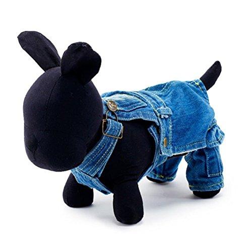 UEETEK Pet Dog Clothes Winter Autumn Puppy Jeans Dog Jumpsuit Clothes Apparel - Size L