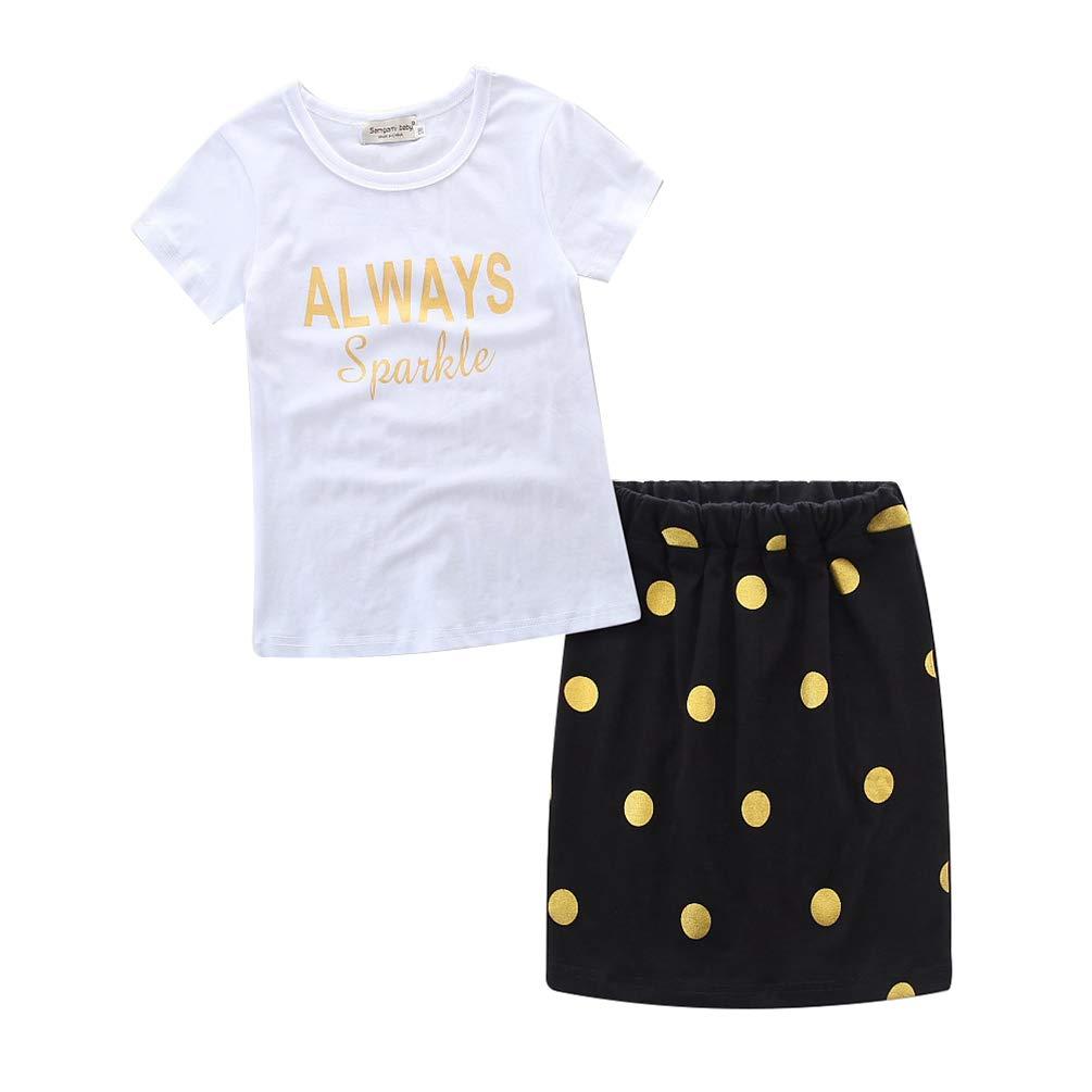 Jitong 2 Pezzi Set di Abbigliamento per Madre e Figlia, Manica Corta T-shirt Stampata + Pois Gonna a Matita Estivi