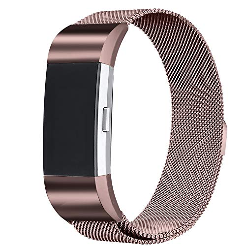 bayite Milanese Loop Bands Compatible Fitbit Charge 2, Stainless Steel Magnet Lock Metal, Coffee Brown Small