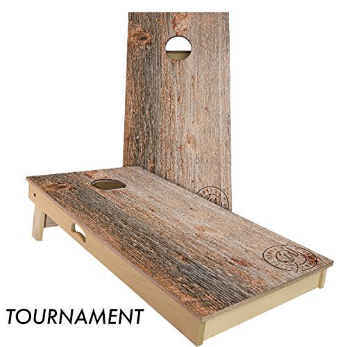 Moss Wood Cornhole Board Set 4' by 2' Tournament size by Slick Woody's Cornhole Co.