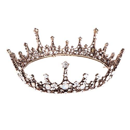 Pinkashop Bronze Baroque Full Round Rhinestone Bride Bridesmaid Crystal Tiara Wedding Crown Princess Tiara Hair Accessory Jewelry For Wedding Engagement Prom