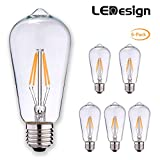 LED Filament Bulb, LEDESIGN ST21 LED Vintage Filament Light Bulbs, Dimmable, 4.5W (40W Equivalent), 450 Lumen, 2700K (Soft White/Warm White), E26 Base, IC Driver, CRI 80+ (Pack of 6)