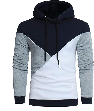 Sudadera con Capucha De Gran Tamaño para Hombre Camisa con Capucha Moda Completi Negro Blanco Blanco Otoño Invierno Casual Sport Patchwork Coat Warm Slim Fit Tallas Tallas Sudadera De Manga Larga: Amazon.es: