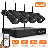 Cheap Security Camera System Wireless, Firstrend 8CH 1080P Wireless Security Camera System with 4pcs 1080P HD Security Camera, P2P Camera System with 65ft Night Vision, No Hard Drive[Black]