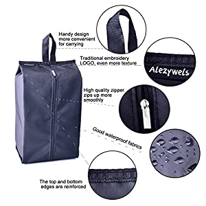 Alezywels Travel Shoe Bags Thick Nylon Waterproof Fabric with Zipper for Men or Women, 4 Pack (Black)