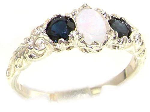 925 Sterling Silver Real Genuine Opal and Sapphire Womens Band Ring