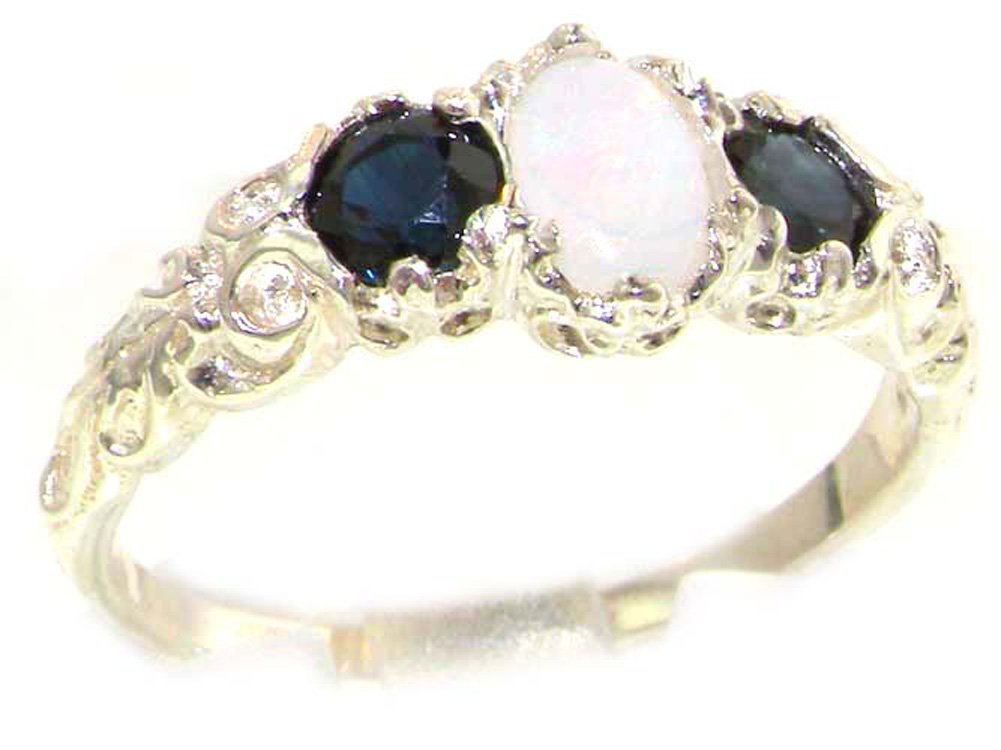 925 Sterling Silver Real Genuine Opal and Sapphire Womens Trilogy Engagement Ring - Size 6