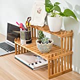 MyGift Tabletop Natural Bamboo Plant Stand, 2 Tier Desktop Shelf Rack, Brown