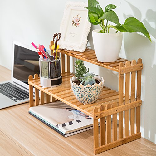 MyGift Tabletop Natural Bamboo Desktop