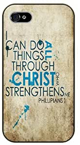 iPhone 6 Bible Verse - Vintage. I can do all things through Christ who strengthens me. Philippians 4:13 - black plastic case / Verses, Inspirational and Motivational