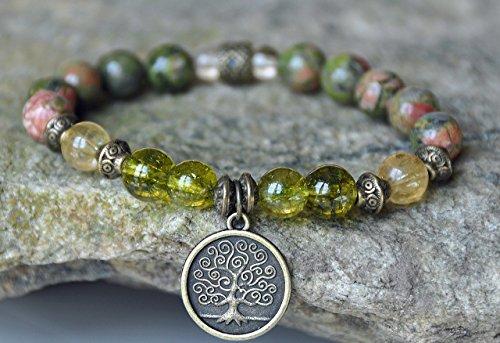 Tree of Life Unakite Gemstone Bracelet, Peridot Mala Bracelet, Citrine prosperity Bracelet,Buddhist Bracelet,Boho Zen Bracelet, Reiki meditation