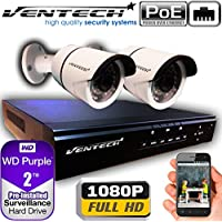 VENTECH POE Security Camera System 4CH NVR 1080P CCTV Kit with 2 Bullet Cameras Outdoor (2.0MP) 2TB H-Drive, Easy Remote Smartphone Access,100ft Night Vision