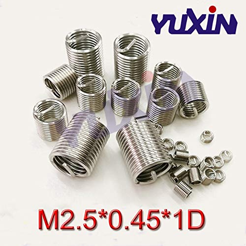 M2.5 Screw Bushing Helicoil Wire Thread Repair Inserts Ochoos 50pcs M2.50.451D Wire Thread Insert Stainless Steel Wire Screw Sleeve