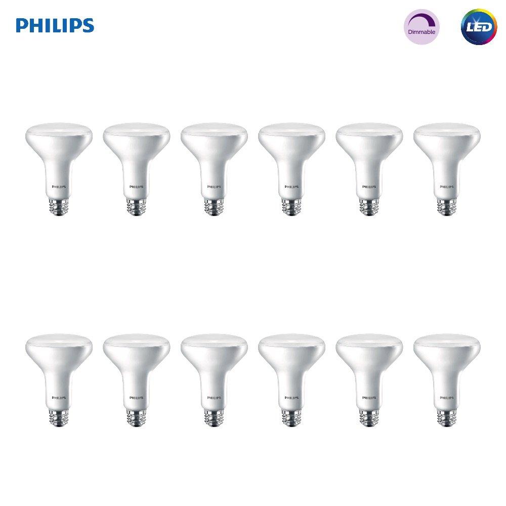 Philips LED 474312 BR30 Dimmable 650-Lumen, 2700-Kelvin, 11 (65-Watt Equivalent) Flood Light Bulb with E26 Medium Base, Soft White, 12-Pack, 12 Pack, 2700K, 12 Count by Philips LED