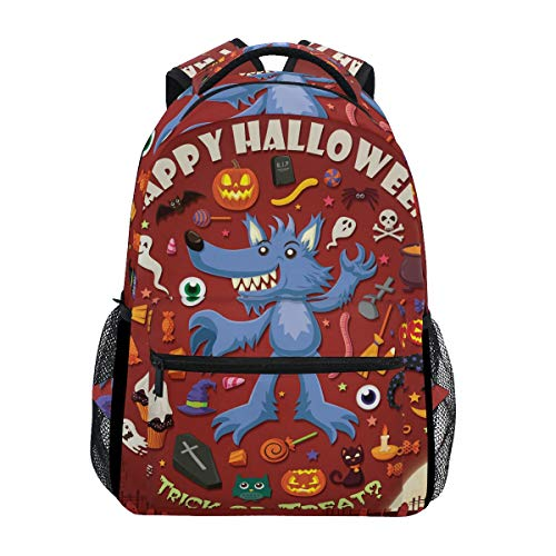 AHOMY Girls School Backpack Halloween Skull Head Jack-O'-Lantern Bat College Book Bag Lady Travel Rucksack -