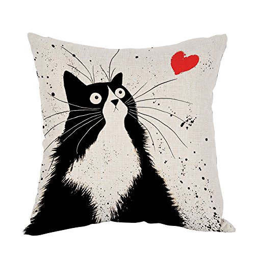 Moslion Cat Pillow,Home Decor Throw Pillow Cover black Cat with Love Heart Cotton Linen Cushion for Couch/Sofa/Bedroom/Livingroom/Kitchen/Car 18 x 18 inch Square Pillow case