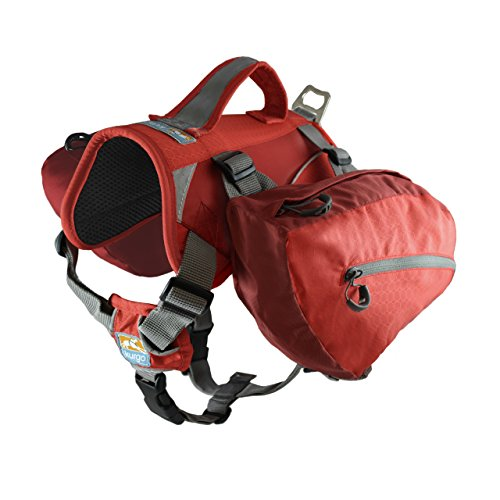 Kurgo Big Baxter Dog Backpack, Dog Saddlebag, Dog Pack, Adjustable Saddlebag for Hiking, Walking, Running, Camping, Chili Red/Barn Red