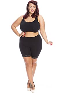 680573803 All Woman Plus Size Anti Chafing Slip Shorts with Soft Lace Trim Single Pair