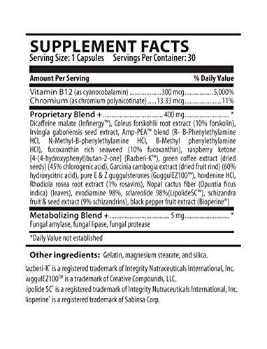 Zero Appetite® Thermogenic Weight Loss, Mood Supplement - Increased Metabolism & Energy Booster for Women & Men - Appetite Suppressant - 60 Capsules