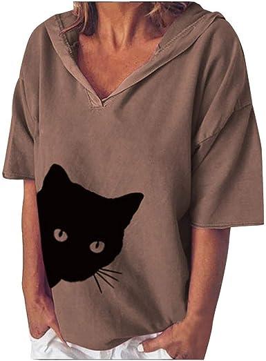 Camisa de Mujer SEWORLD Camiseta Holgada con Estampado de Cabeza de Gato de Algodón y Lino Mujer Suelta Manga Corta con Sombrero Blusa Tops(Rojo, Gris, Púrpura, Marrón, S/M/L/XL/XXL): Amazon.es: Ropa y accesorios
