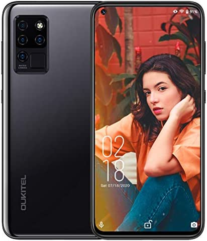 """OUKITEL C21 Unlocked Cell Phones, 6.4"""" FHD+ Hole- Punch in-Cell Display, Android 10 Octa-core 4GB + 64GB, 20MP AI Quad Camera, 4000mAh Battery, Face/Fingerprint Unlock Smartphones Dual SIM 4G, Black WeeklyReviewer"""